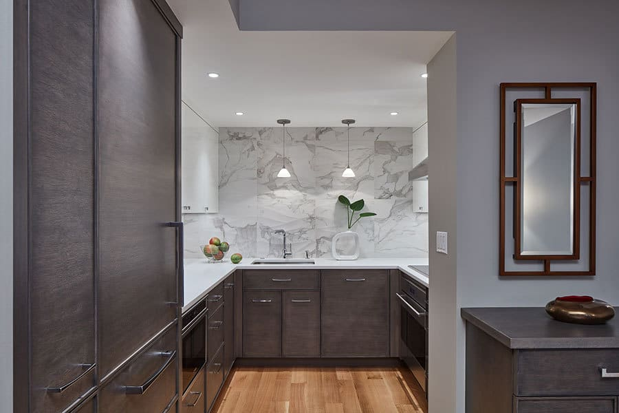 This luxury urban kitchen functions as great as it looks with Sub-Zero and Wolf appliances and custom designed cabinetry
